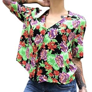 NWT Zara Floral Contrast Blouse